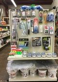 monofilament line, corks, cast nets, cooler lids, aerators bobbers, corks